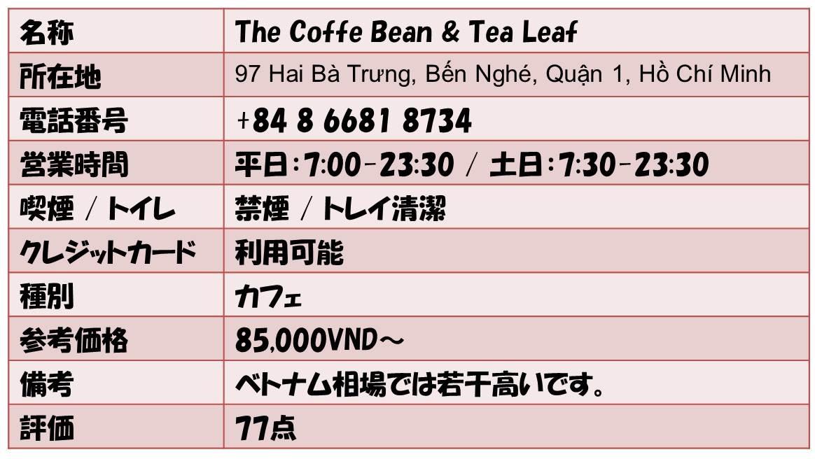 名称        The Coffe Bean & Tea Leaf 所在地    97 Hai Bà Trưng, Bến Nghé, Quận 1, Hồ Chí Minh 電話番号          +84 8 6681 8734 営業時間      平日:7:00-23:30 / 土日:7:30-23:30 喫煙 / トイレ 禁煙 / トレイ清潔 クレジットカード          利用可能 種別      カフェ 参考価格           85,000VND~ 備考             ベトナム相場では若干高いです。 評価  77点