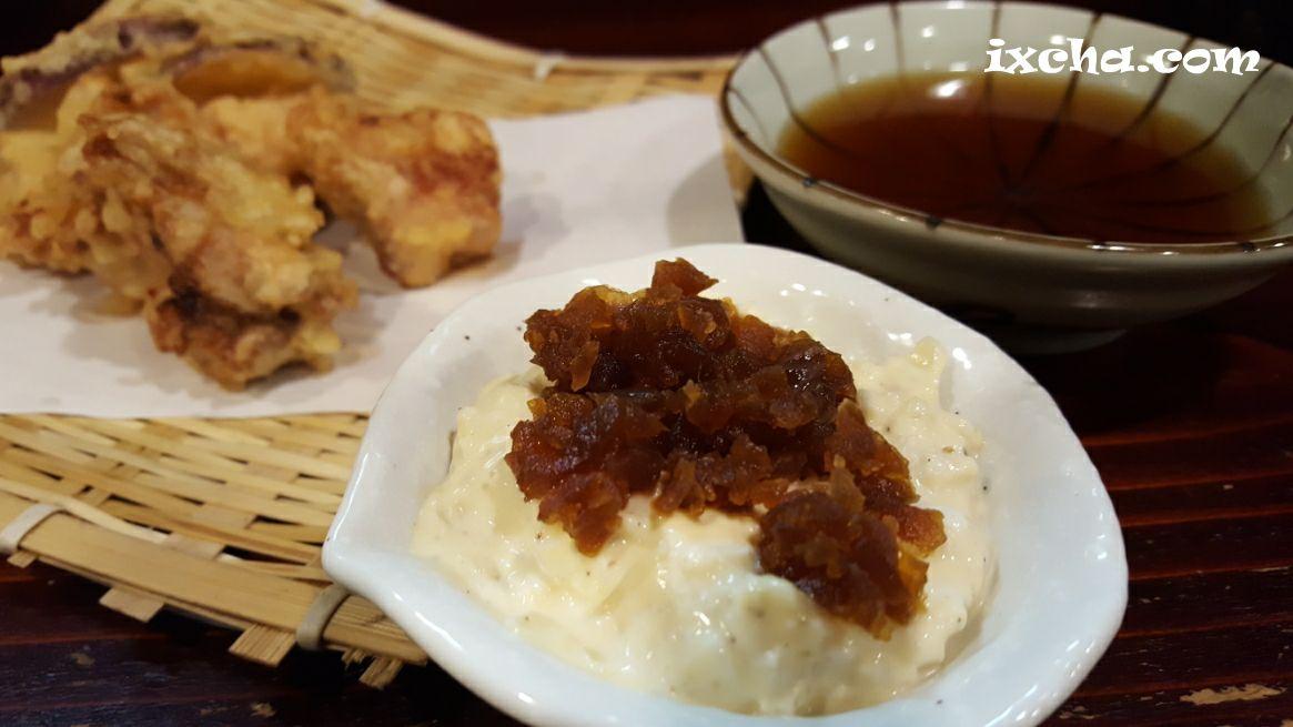 鶏もも天ぷら奈良漬けタルタル